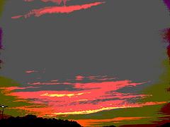 Coucher de soleil / Sunset - Pocomoke, Maryland. USA - 18 juillet 2010- Postérisation