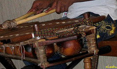 Playing a balafon..