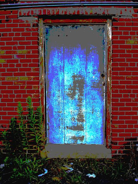 Antique market door / Porte du marché d'antiquités - Bastrop, Louisiane. USA - 8 juillet 2010  - Postérisation