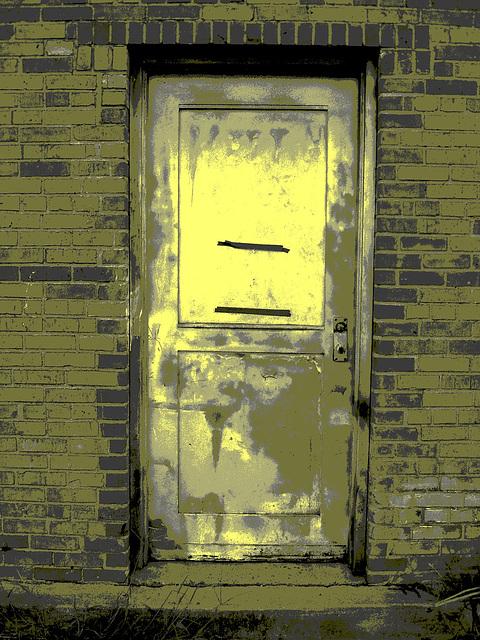 Antique market door / Porte du marché d'antiquités - Bastrop, Louisiane. USA - 8 juillet 2010 - Vintage postérisé