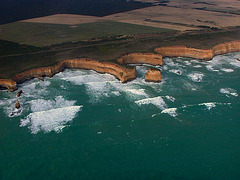 The Twelve Apostles coast an aerial photo