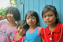Thai kids in Minburi outside Bangkok