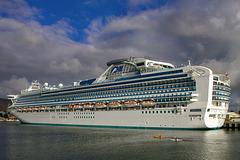 Diamond Princess on dock in Hobart's harbor