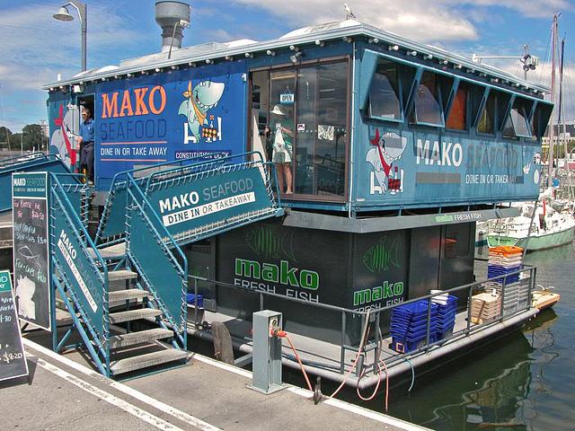 Floating restaurant in Hobart's harbor