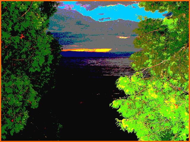 Coucher de soleil / Sunset - St-Jean Port-Joli . Qc. Canada - 21 juillet 2005  / Cocktail photofiltré