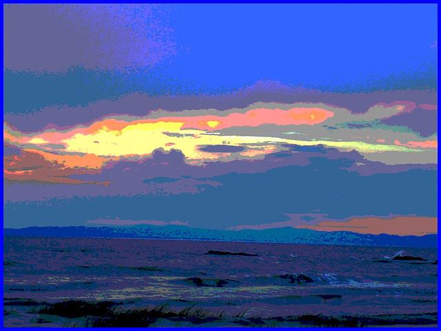 Coucher de soleil / Sunset - St-Jean Port-Joli . Qc. Canada - 21 juillet 2005  / Postérisation.