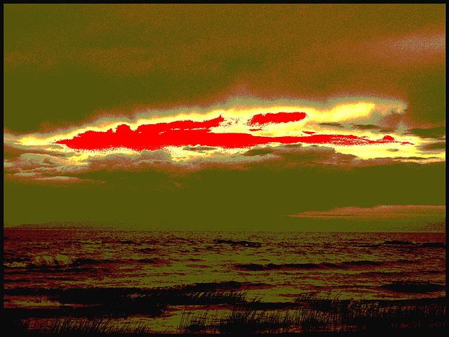 Coucher de soleil / Sunset - St-Jean Port-Joli . Qc. Canada - 21 juillet 2005   /  Sepia photofiltré