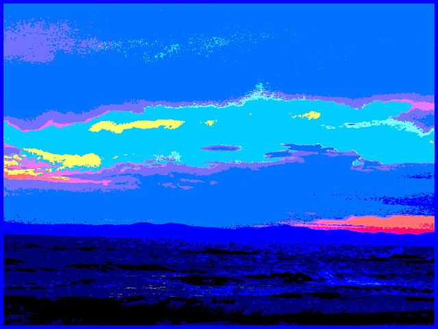 Coucher de soleil / Sunset - St-Jean Port-Joli . Qc. Canada - 21 juillet 2005   / Postérisation intensive