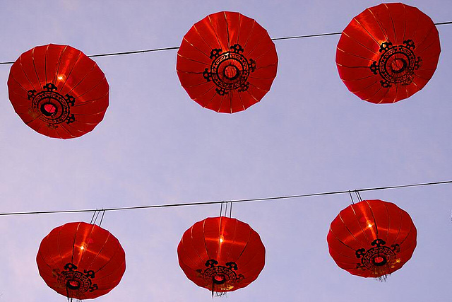 Lampions fill the sky during the Chinese New Year 2010
