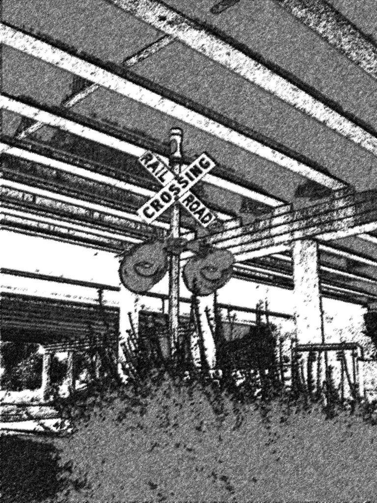 Passage à niveau / Railroad crossing - Elisabethtown. Kentucky. USA. 25 juin 2010 -  Fusain postérisé