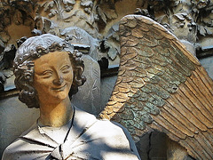 1303 0035ac Reims Cathedral Notre Dame Facade Gracious Smiling Angel