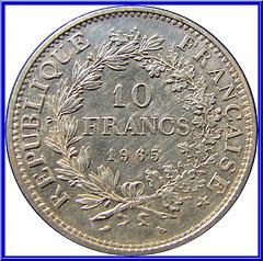 10 Francs Hercule 1965 Envers