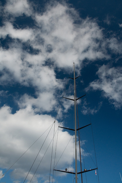 the mast against the sky