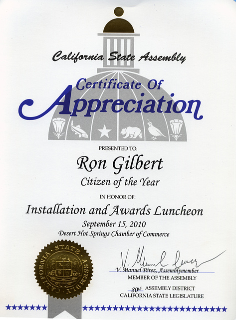 Assemblymember Manuel Perez Certificate of Appreciation