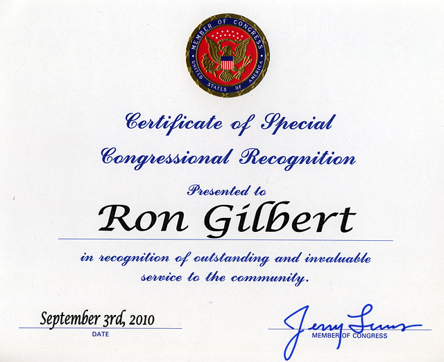 Certificate of Special Congressional Recognition from Congressman Jerry Lewis