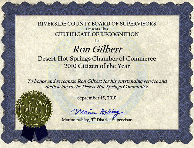 Riverside County Board of Supervisors Certificate of Recognition