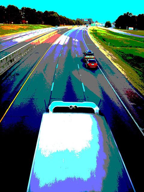 Autoroute texane /  Texan highway - Hillsboro, Texas. USA - 27 juin 2010 - Postérisation