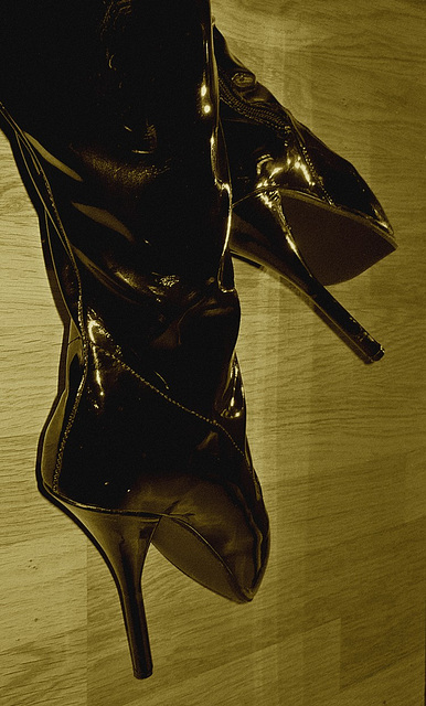 Lady Yerim avec / with permission / Cuissarde ballet / Ballet thigh boots - Sepia