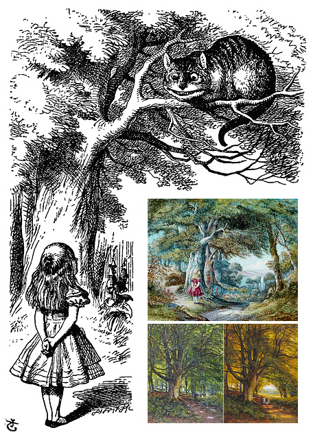 Alice & Cheshire Cat by Tenniel, Forests by Hill and Warren