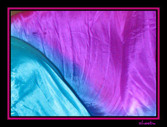 Free-flowing framed silk fans veils...