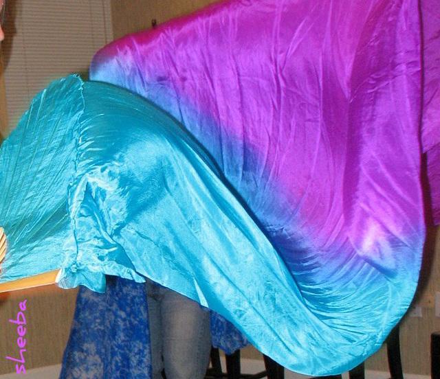 Flowing silk fans..