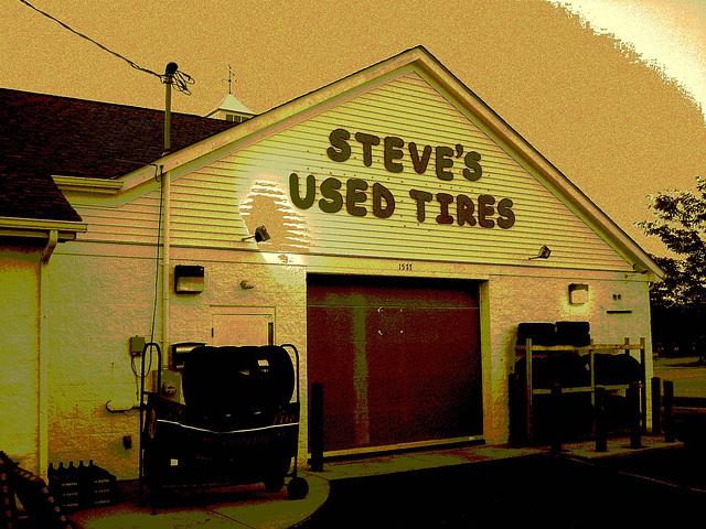 Steve's used tires / Columbus, Ohio. USA - 25 juin 2010 - Sepia posrtérisé