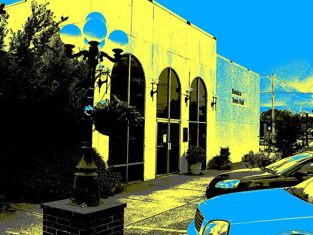 Bernice, Louisiane. USA - 07-07-2010- Hotel de ville / Town hall - Postérisation