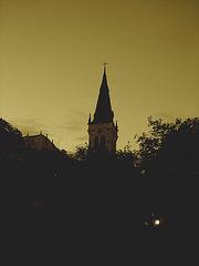 Church tower by the night / Clocher de soir - San Antonio, Texas. USA - 29 juin 2010- Sepia
