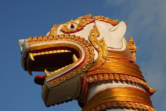Lion head ant the entrance of Wat Wang Wiwekaram