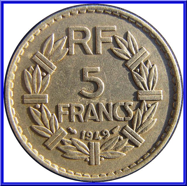 5 Francs 1949 Envers