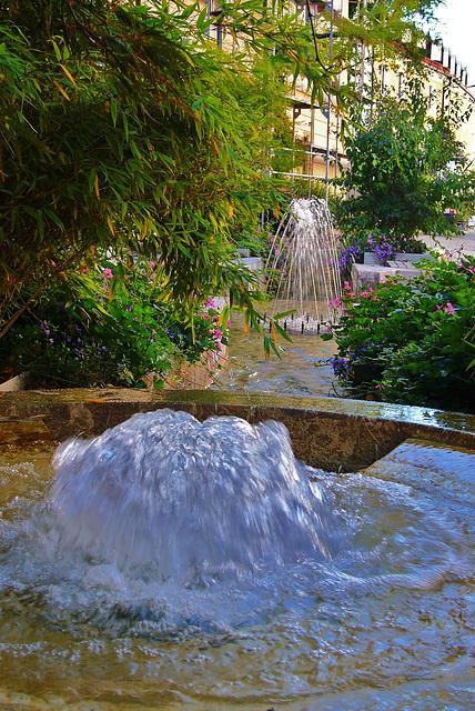 Sprudelbrunnen und Fontaine