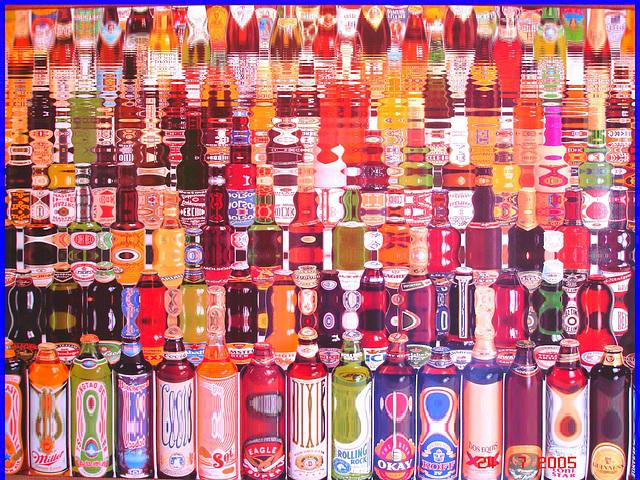 Festival de la bière !  Beer kingdom !  Cadre alcoolisé du bas du fleuve's washroom wall picture - 24 juillet 2005. - Reflet d'eau / Water reflection