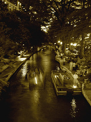 River walk by the night / San Antonio, Texas. USA - Sepia