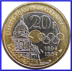 20 Francs Commémorative 1994 Envers