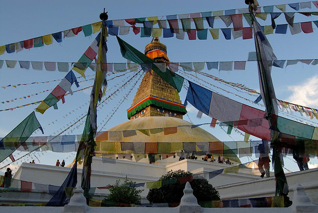 Bodhnath stupa and prayer flags