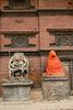 Hanuman sculpture and peacock windows in Patan