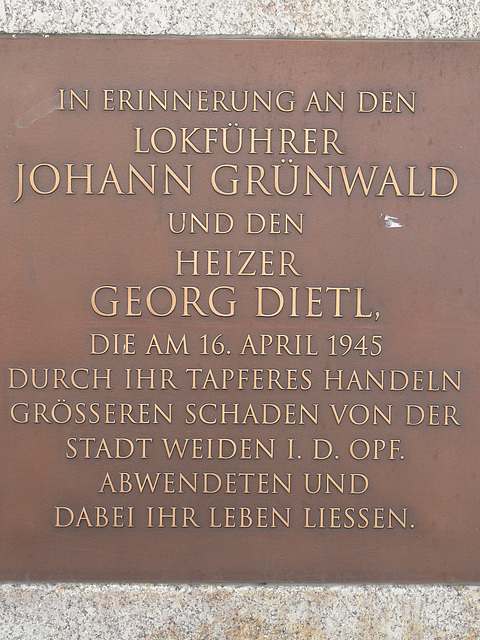 Weiden - Gedenkstein (Inschrift)