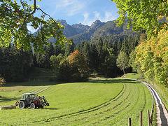 Am Stadtrand von Garmisch-Partenkirchen mit Blick auf den Kramer