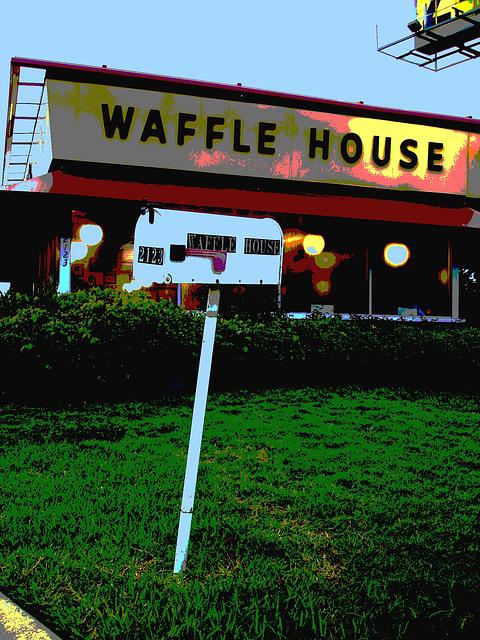 Waffle house mailbox /  Gaufrier postal - Bossiercity / Louisiane, USA - 7 juillet 2010 - Postérisation