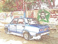 Che Guevara dans son monde de contours couleurs