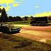 Thunderbird 1966 et véhicule récréatif /  Dans ma ville - Hometown. 14-07-2009- Sepia postérisé