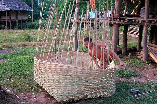 Braiding a large basket