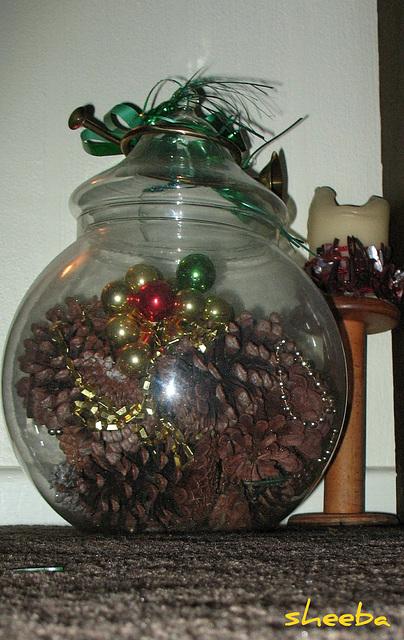 Pine cones,beads, shiny ornaments..