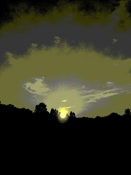 Coucher de soleil / Sunset - Pocomoke, Maryland. USA - 18 juillet 2010 - Vintage postérisé