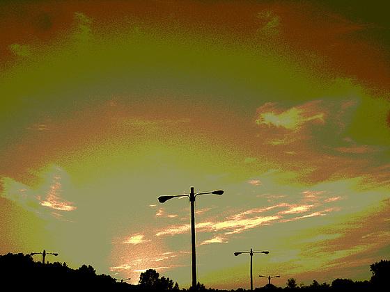 Coucher de soleil / Sunset - Pocomoke, Maryland. USA - 18 juillet 2010 - Sepia postérisé