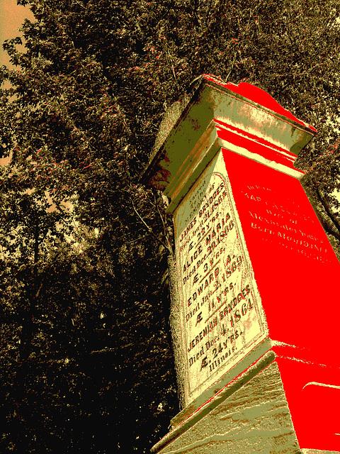 Protestant cemetery  / Cimetière protestant - Huntington Qc. CANADA . 30-08-2010 - Sepia et rouge photofiltré