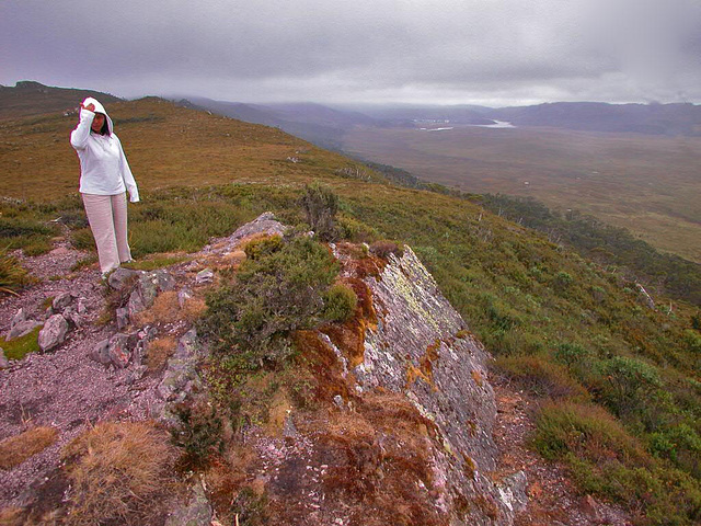Walking in the Cradle Mountain in heavy weather