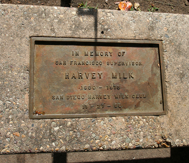 Bench Plaque for Harvey Milk in Balboa Park (8068)