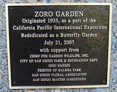 Balboa Park Zoro Garden Plaque (8077)