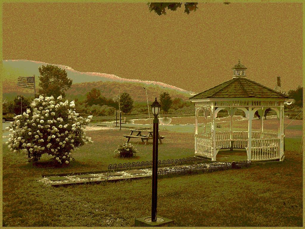 Vermonter Motor lodge landscapes/ Paysage du Vermont, USA / August 6th 2008 - Sepia postérisé